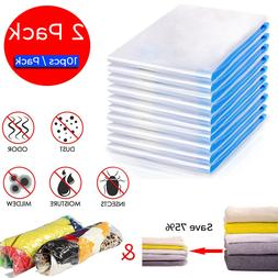 20 Pack S/M Roll Up Vacuum Seal Garment Bags Space Saver Sto
