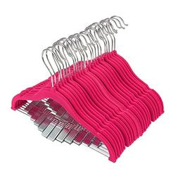 Juvale 24 Hot Pink Velvet Baby Clothes Hangers - Ultra Thin