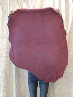 3-4 oz. GRAPE Suede Leather Hide for Garments Crafts Cosplay
