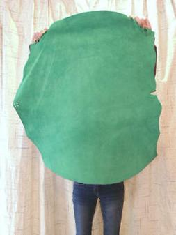 3-4 oz. GREEN Suede Leather Hide for Garments Crafts Cosplay