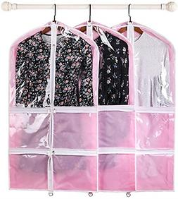 "no branded 3 PCS Pink Costume Garment Bags, 37"" Dance Dressi"