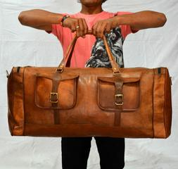 "30"" Men's Genuine Leather Luggage Garment Weekender Overnigh"