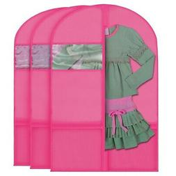 Plixio 3x Kids Pink Garment Bag Dance Costume Transparent Wi