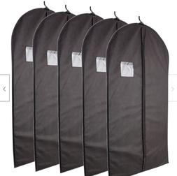 5 Pcs 40-inch Black Garment Bag with Transparent Window Stor