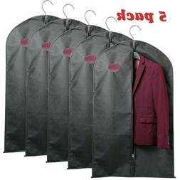 5 Pcs 59-inch Garment Bag for Suit Dress Storage Black with