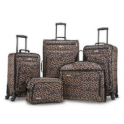 American Tourister 5 Piece Spinner Luggage Set Cheetah Leopa
