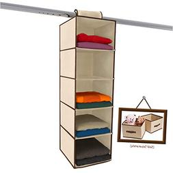 Home Natural 5 Shelf Hanging Organizer Closet Storage Heavy