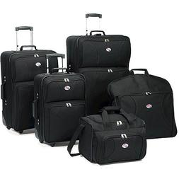American Tourister 5-Piece Luggage Set, Black. Travel Luggag