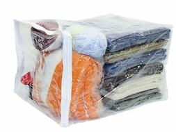Clear Vinyl Zippered Storage Bags 15 x 18 x 12 Inch 5-Pack