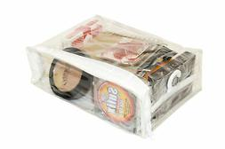 Clear Vinyl Zippered Storage Bags 8 x 6 x 2.5 Inch with Disp