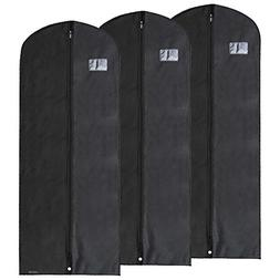 HANGERWORLD 3 Black Breathable 60in Suit Garment Bags - Extr
