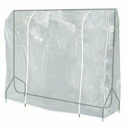 HANGERWORLD Clear 6ft Showerproof Zip Clothes Rail Cover Han