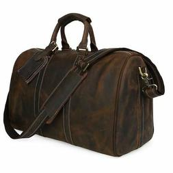 Mens Real Leather Travel Luggage Garment Duffle Gym Bags Mes