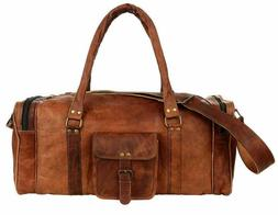 All Men's Real Leather Travel Luggage Garment Duffle Gym Bag