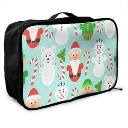Travel Bags Snowman Christmas Portable Tote Trolley Handle L