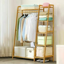 Bamboo Garment Rack Storage Coat Clothes Stand Shoe Bag Hat