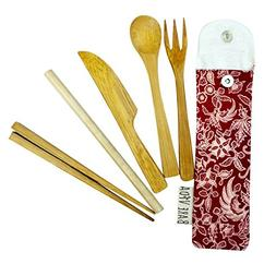 Bamboo Utensil Set in Slim Travel Pouch by Bare Vida - Trave