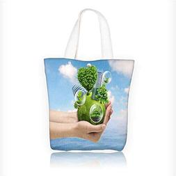 Canvas Tote Bag A man with the earth in hand Zipper Closure