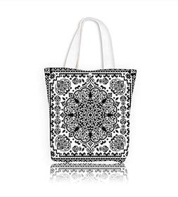Canvas Tote Bag Indian floral paisley medallion Henna tattoo