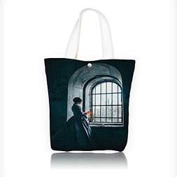 Canvas Tote Bag man with Victorian Dress in frt of Middle Ag