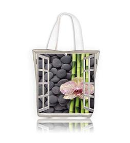 Canvas Tote BagPinkl orchid and bamboo grove on zen pebble