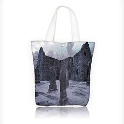 Canvas Tote Handbag Cemetery Church Tomb and Tombstone ism S