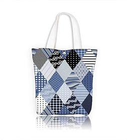 Canvas Zipper Tote Bag Winter seamless patchwork of quilting