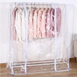 Clear Waterproof Dustproof Zip Clothes Rail Cover Clothing <