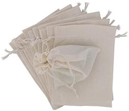 100 Percent Cotton Muslin Bags with Drawstring, 12-Pack