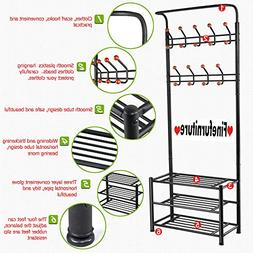 Finefurniture Entryway Coat and Shoe Rack with 18 Hooks and