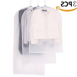 AIYoo Garment Bag 3 Pack 3 Size Full Zipper Suit Bags White
