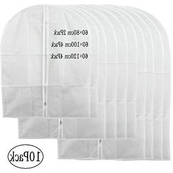 Pack of 10 Garment Bag, Full Zipper Suit Bag ,Clothing Dust
