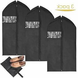 MaidMAX Set of 3 Garment Bags with Full Length Zipper & Clea