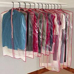 13 Piece Garment Bags Clear Plastic Storage Clothes Dust Cov