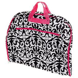 World Traveler 40 Inch Hanging Garment Bag, Pink Trim Damask