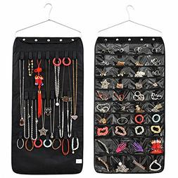 IDecHome Hanging Jewlery Organizer, Dual Sided Pockets Hooks