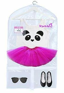 KEHO Clear Kids Garment Bag with 4 Pockets For Dance Competi