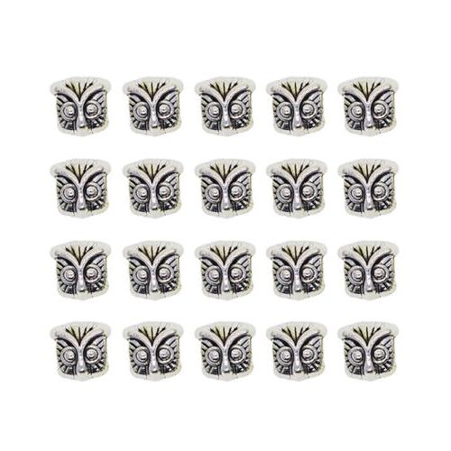 20pcs Charms Spacers Owl Head Beads for Zipper Pull DIY Garm