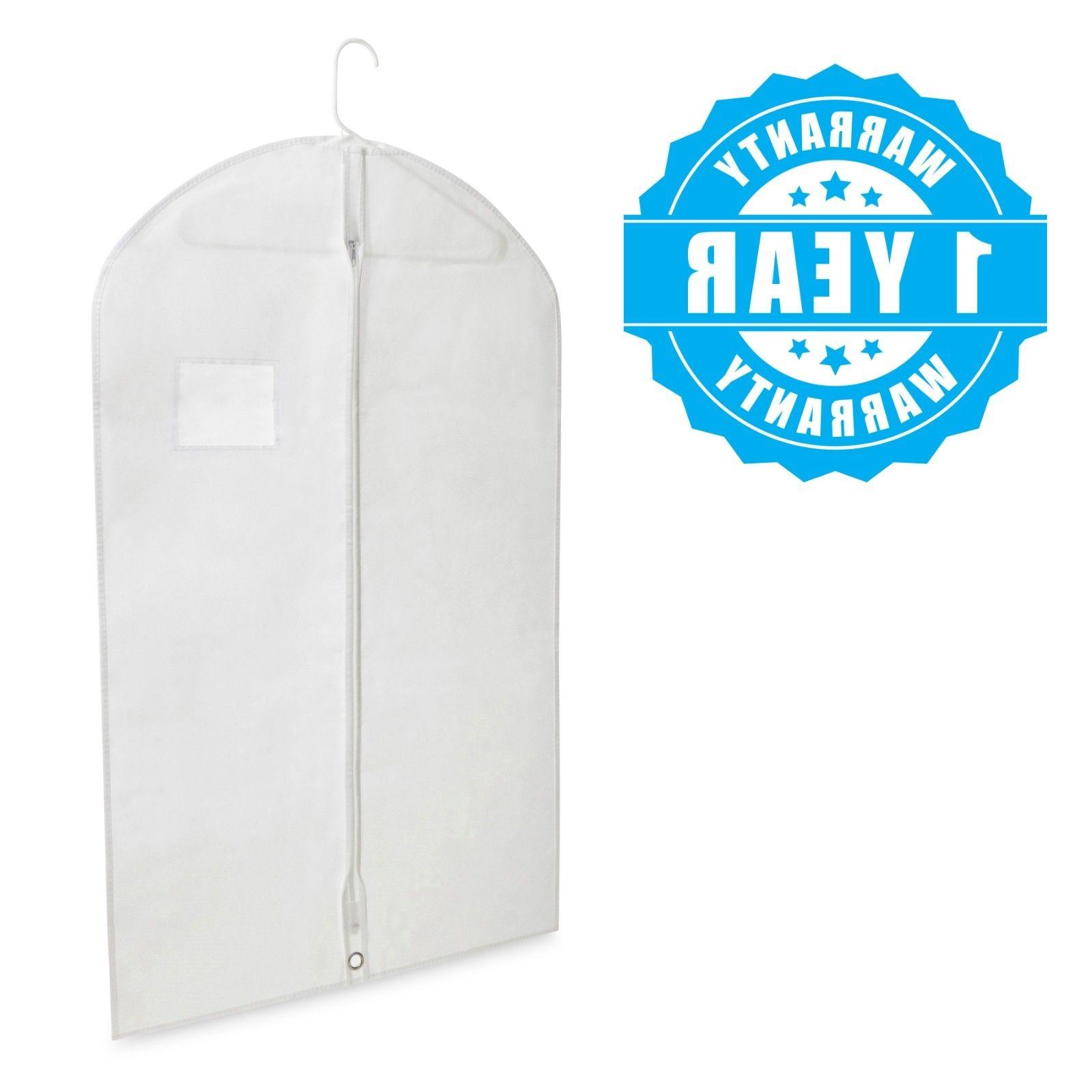 """40"""" White Hanging Garment Bags & Window for Dresses 5 Pack"""