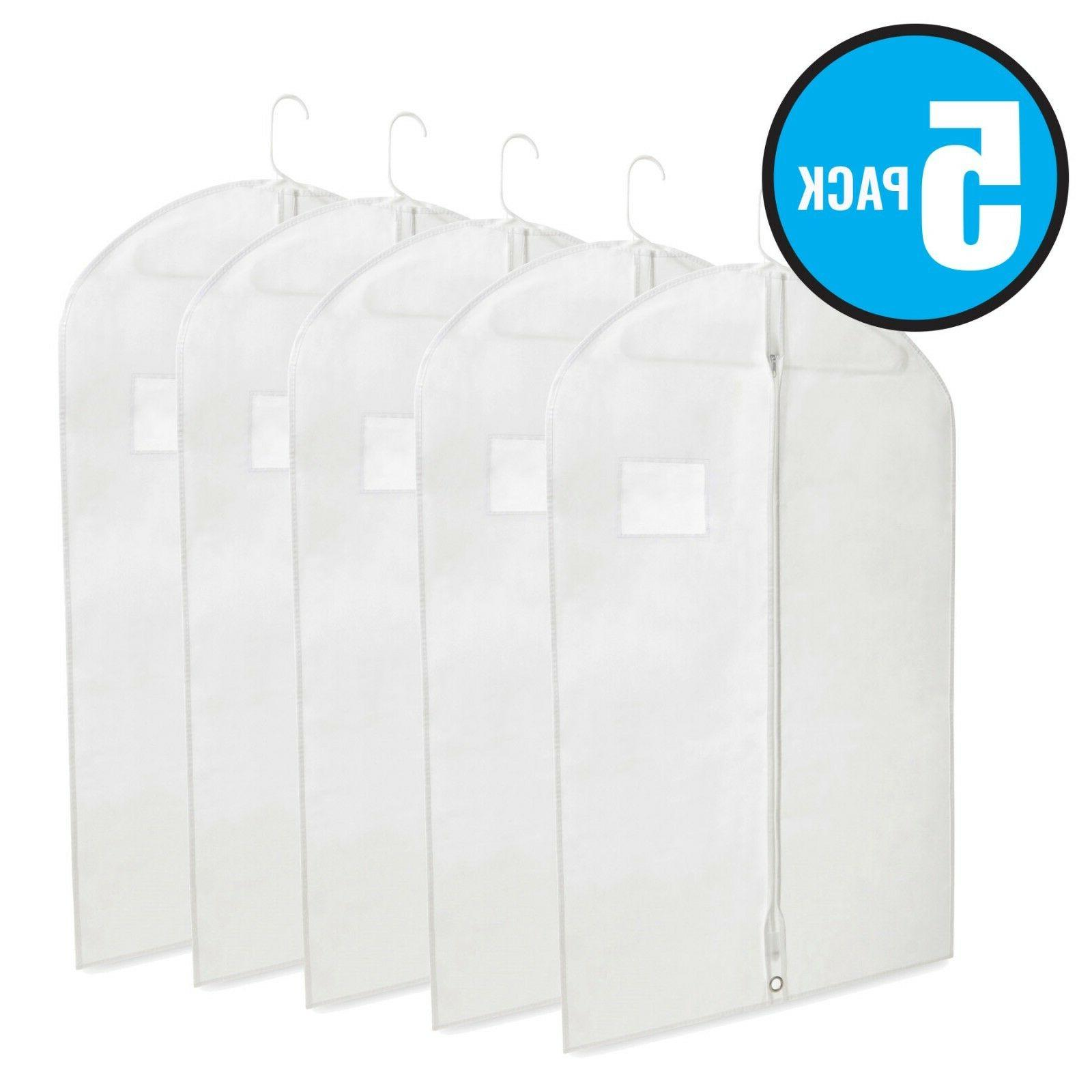 "40"" White Hanging Garment Bags with Zipper & Window for Su"