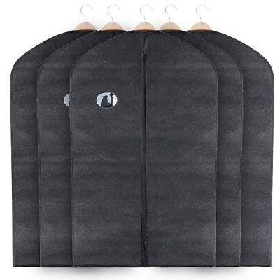 5 pack Suit Cover Garment Bag Black Breathable Non-Woven Sui