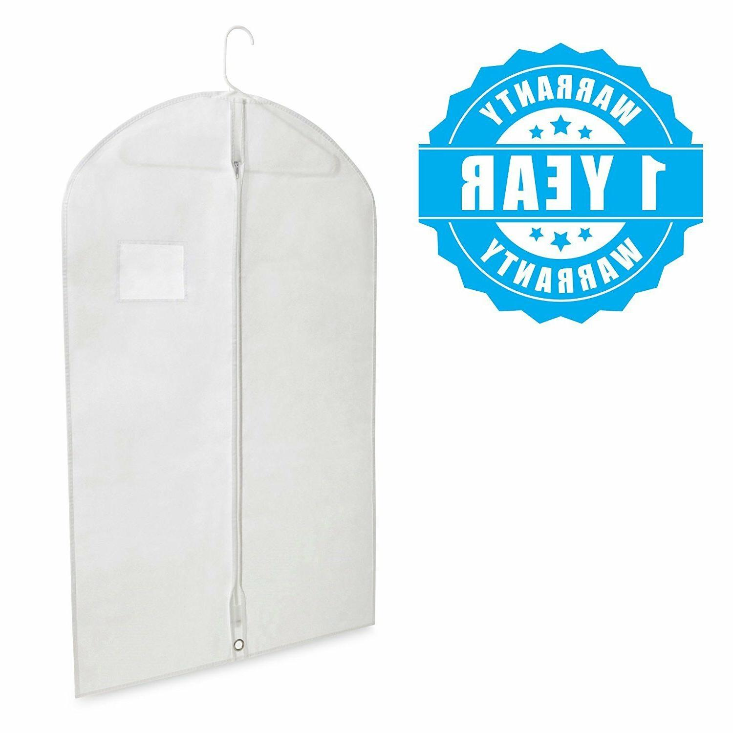 Breathable White Garment Bags Storage Suits & with 10 Pack