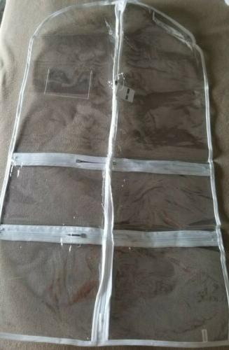 clear garment bag with multiple pockets