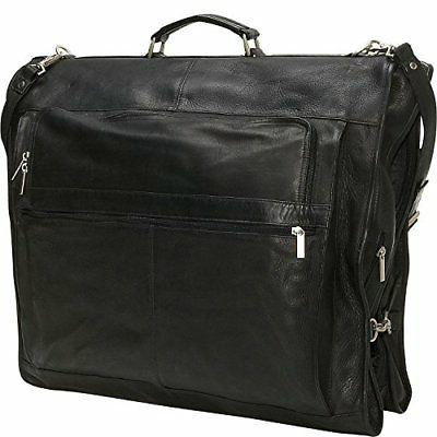 "David King Leather 42"" Deluxe Garment Bag in Black"