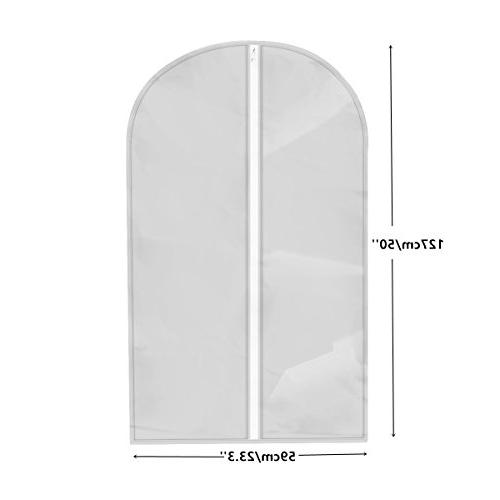 """Begost Pack Garment Bags Breathable Dust Covers Clothes Storage with Clear Plastic Full Dresses x 23.3"""" W,Light"""