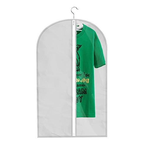 """Begost 3 Garment Dust Covers Foldable Clothes Storage Bags Clear Plastic and Full Zipper for x 23.3"""" W,Light"""