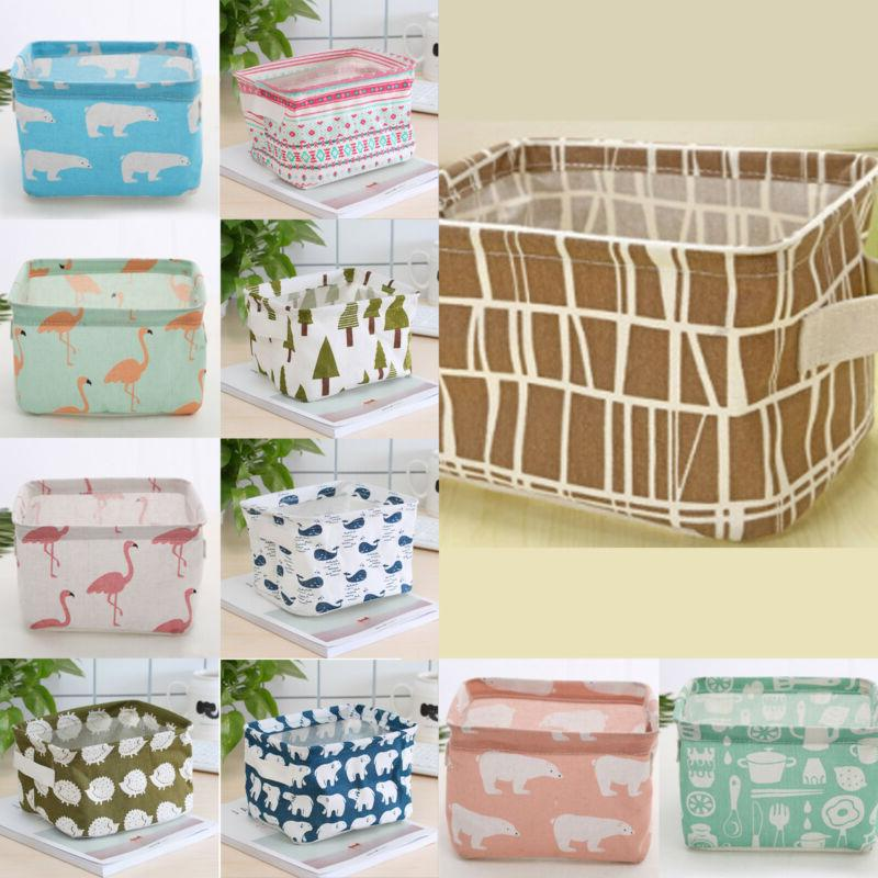 Foldable Bin Basket Bag Farbics Storage Makeup