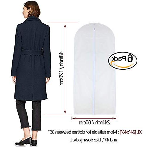 Garment Clear 24'' x 48'' Bag Dust Moth Garment Bags White Breathable for Clothes Pack of 6