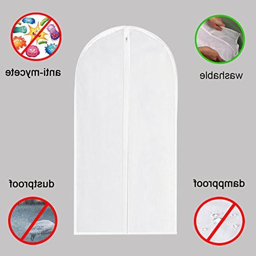 Garment Bag Clear,40 Garment Cover White Full Zipper for Storage Closet Pack of