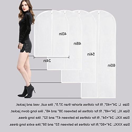 Garment Bag Dress,60 Moth Proof Cover White Breathable Zipper For Closet Of 6